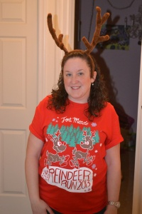 Meredith modeling the shirt and antlers..